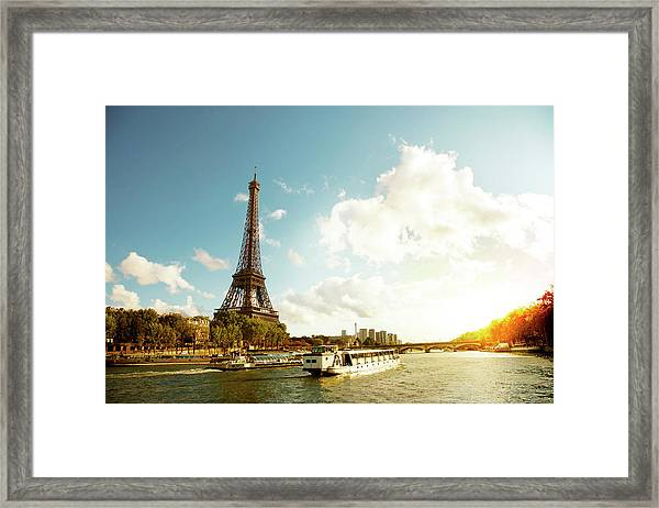 Eiffel Tower And The River Seine Framed Print by Vintagerobot
