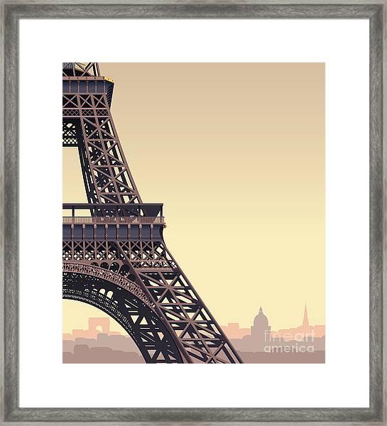 Eiffel Tower At Sunset Framed Print