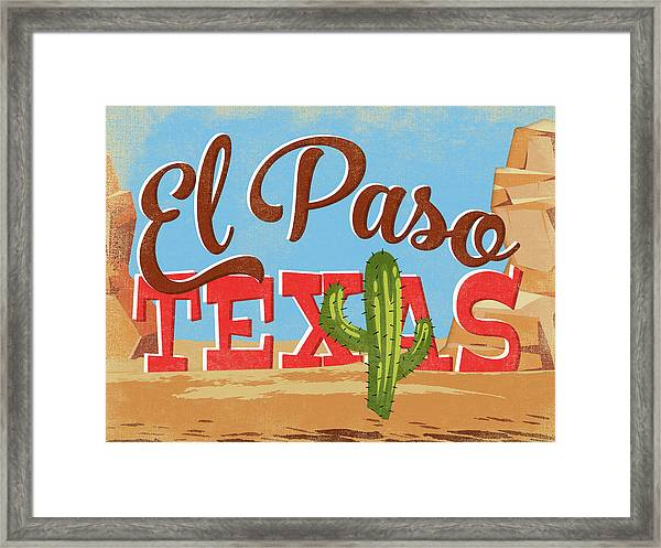 El Paso Texas Cartoon Desert Framed Print
