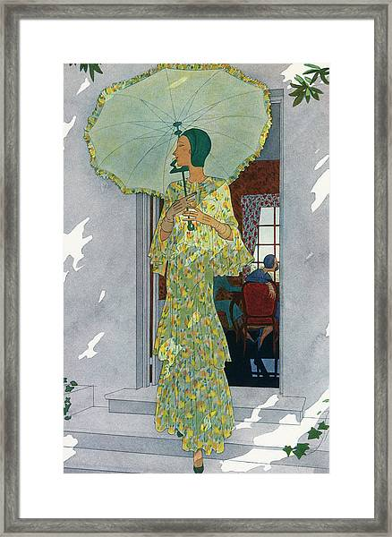 Elegant Woman With A Parasol Framed Print