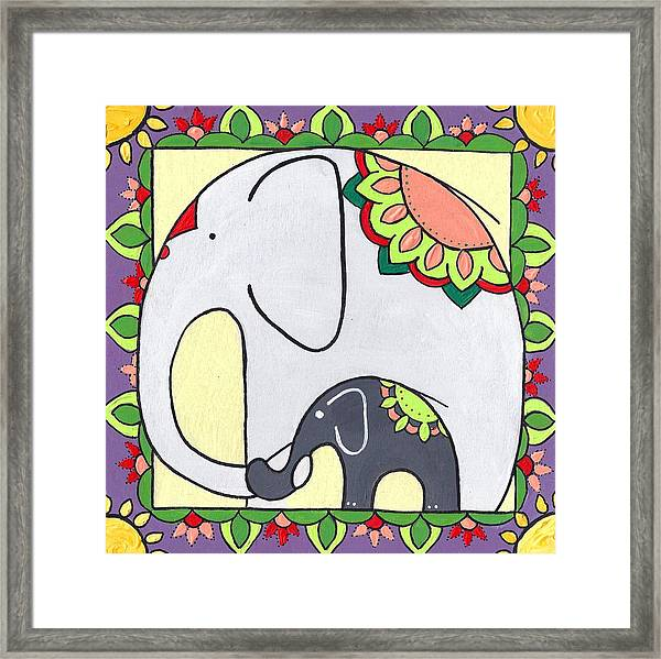 Elephant And Child 6 Framed Print