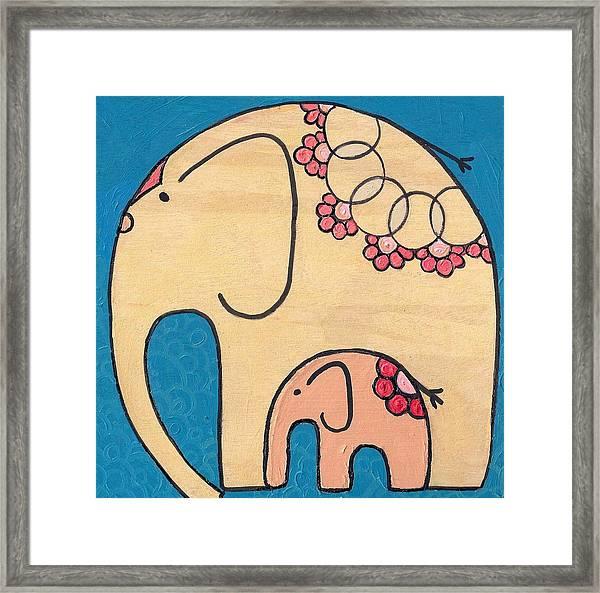 Elephant And Child On Blue Framed Print