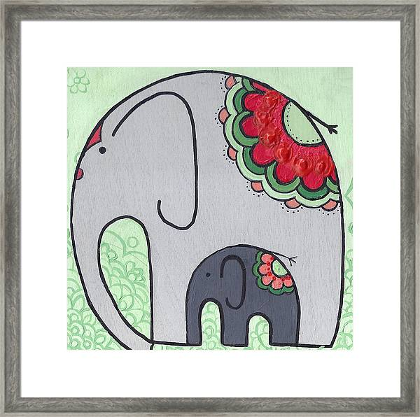 Elephant And Child On Green Framed Print