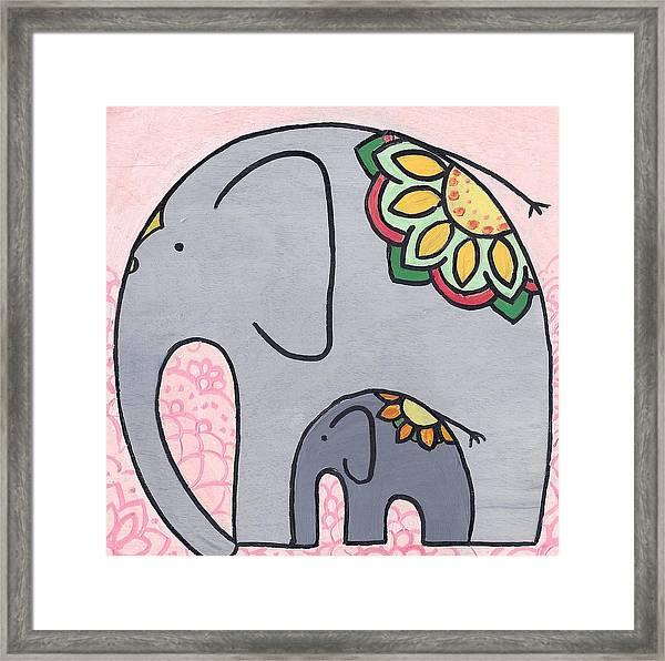 Elephant And Child On Pink Framed Print