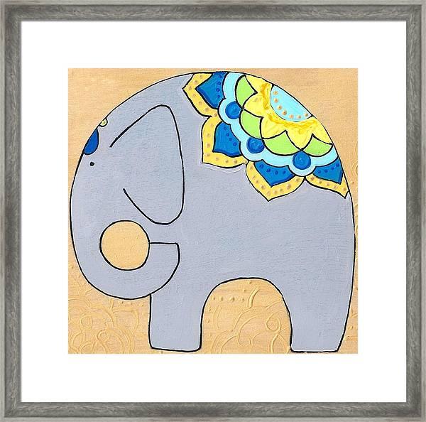 Elephant On Gold Framed Print