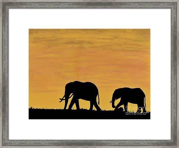 Elephants - At - Sunset Framed Print