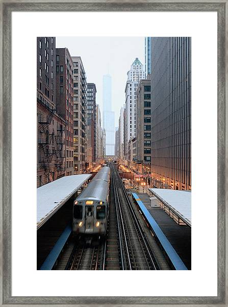 Elevated Commuter Train In Chicago Loop Framed Print
