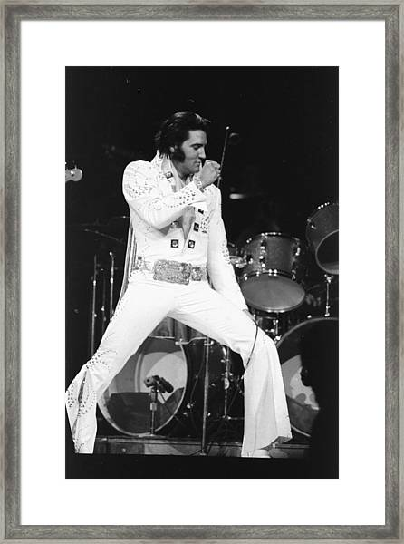 Elvis Presley On Stage During His 1972 Framed Print
