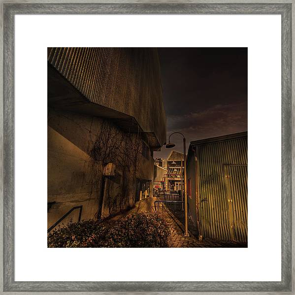 Framed Print featuring the photograph Emily Carr Alley by Juan Contreras