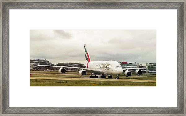 Emirates Airbus A380-800 At London Heathrow Airport Framed Print