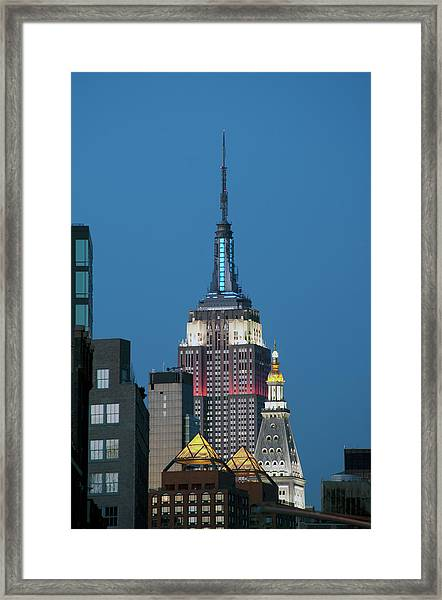 Empire State Building And Met Life Framed Print