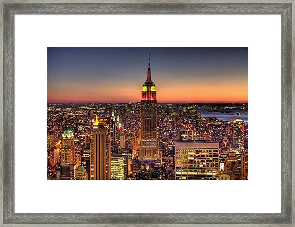 Empire State Building During Twilight Framed Print