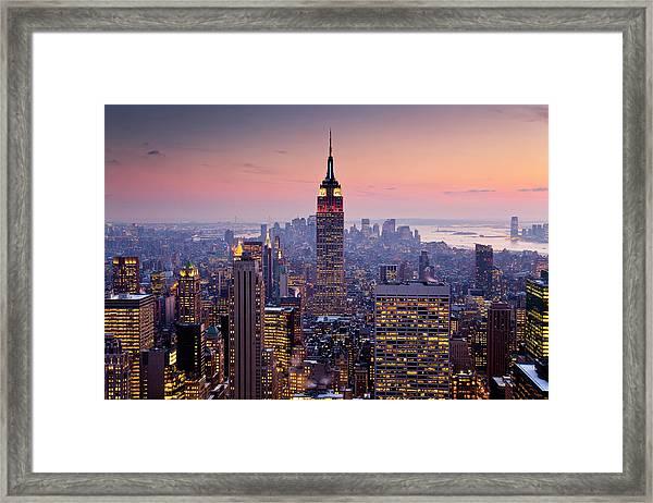 Empire State Building From Rockefeller Framed Print