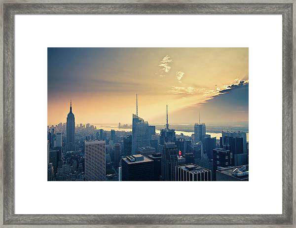 Empire State Building From Top Of Rock Framed Print