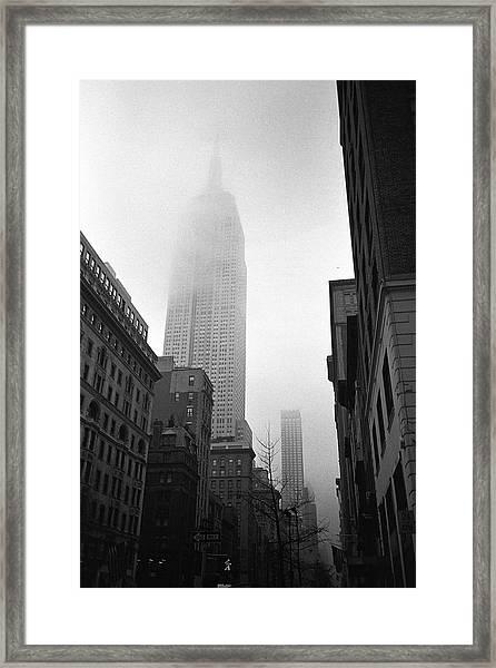 Empire State Building In Fog Framed Print