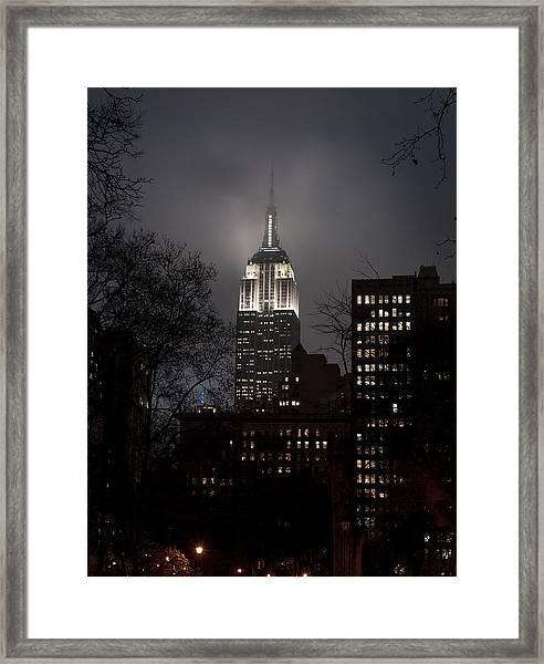 Empire State Building, In Fog Framed Print