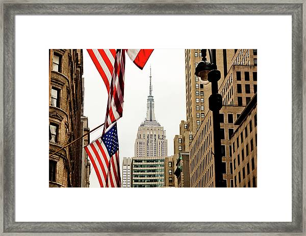 Empire State Buildings Stars And Stripes Framed Print