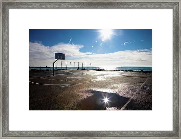 Empty Basketball Court, Nice, France Framed Print