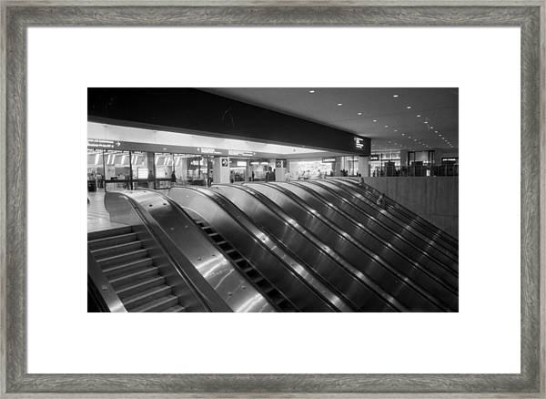 Empty Escalators Under The World Trade Framed Print