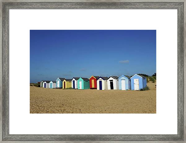 English Beach Huts Framed Print