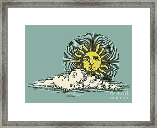 Engraved Sun And Clud In The Sky Vector Framed Print