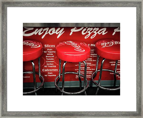 Framed Print featuring the photograph Enjoy Pizza And A Coke by Steve Stanger