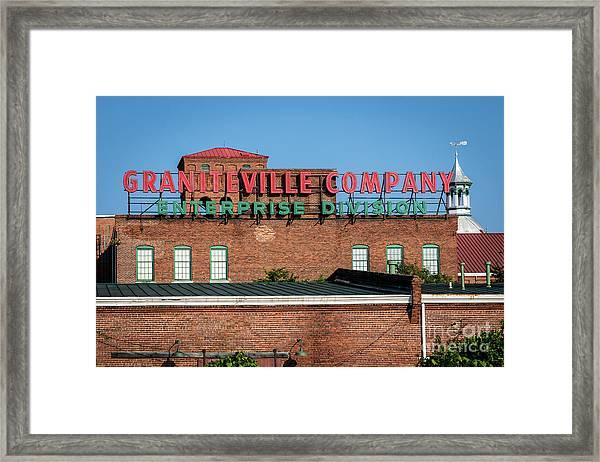 Enterprise Mill - Graniteville Company - Augusta Ga 1 Framed Print