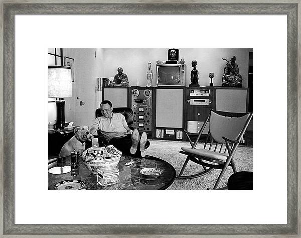 Entertainer Frank Sinatra Relaxing W Framed Print