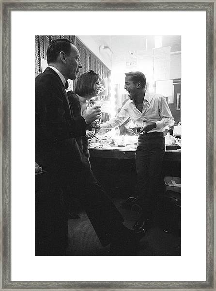 Entertainers Frank Sinatra L And Sammy Framed Print