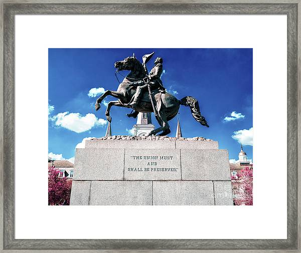 Equestrian Statue Of Andrew Jackson In New Orleans Framed Print by John Rizzuto
