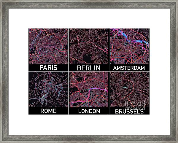 European Capital Cities Maps Framed Print