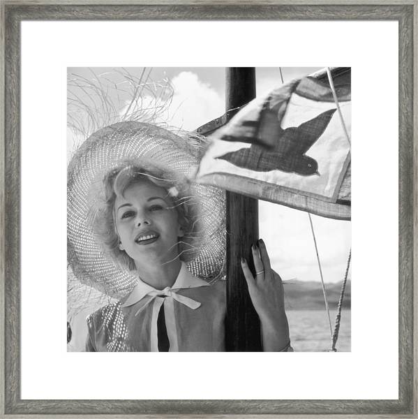 Evas Boat Trip Framed Print by Slim Aarons