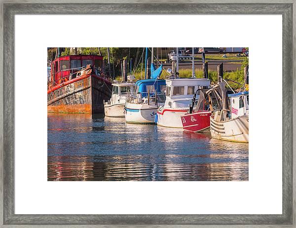 Evening At The Harbor Framed Print