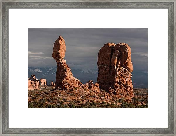 Evening Light On Balanced Rock Framed Print