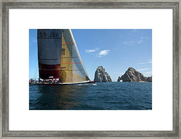 Ex-americas Cup 12m Sailboat Racing Off Framed Print