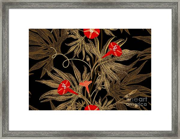 Exotic Climbing Plant Ivy. Vector Framed Print