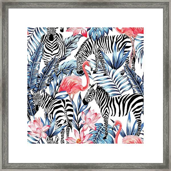 Exotic Pink Flamingo, Zebra On Framed Print