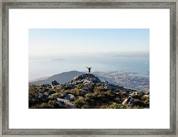 Exuberant Man On Top Of Table Mountain Framed Print by David Malan
