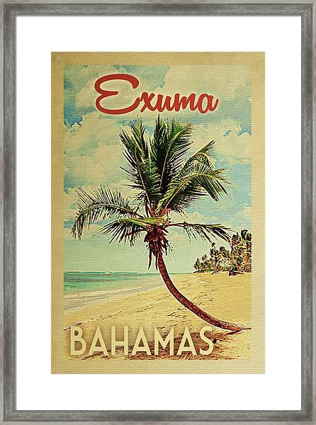 Exuma Bahamas Palm Tree Framed Print