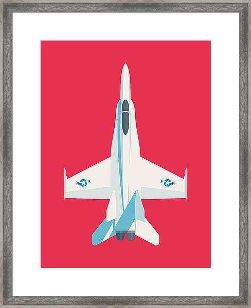 F-18 Hornet Jet Fighter Aircraft - Crimson Framed Print