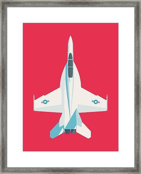 F-18 Super Hornet Jet Fighter Aircraft - Crimson Framed Print