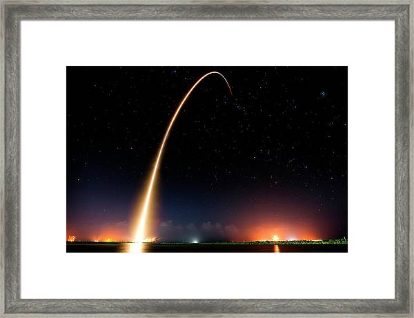 Falcon 9 Rocket Launch Outer Space Image Framed Print
