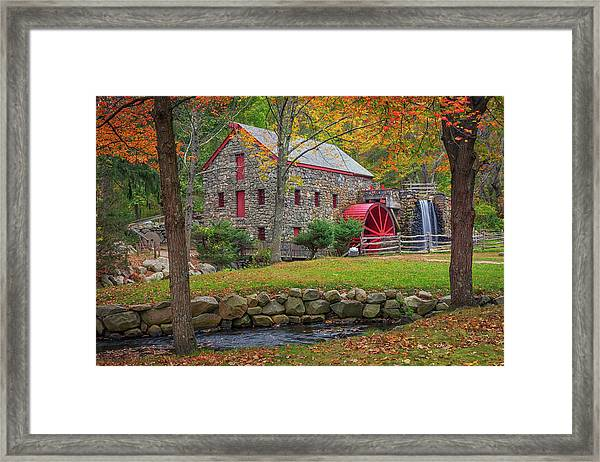 Fall Foliage At The Grist Mill Framed Print