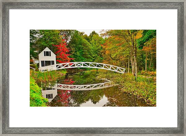 Fall Footbridge Reflection Framed Print