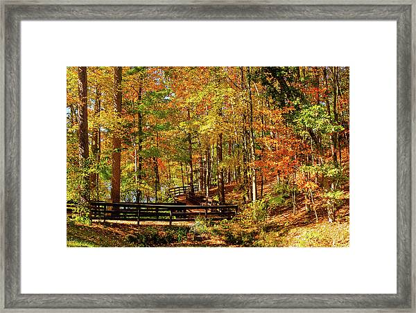 Framed Print featuring the photograph Fall Hike At Mirror Lake by Dawn Richards