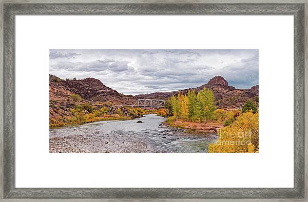 Fall Panorama Of Rio Grande Del Norte At Orilla Verde And Taos Canyon - New Mexico Desert Southwest Framed Print