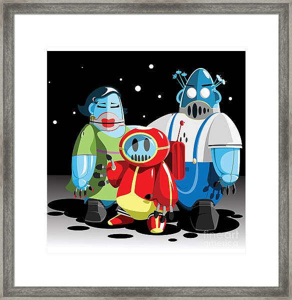 Family Of Moon Robots Framed Print