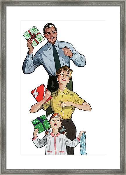 Family With Christmas Presents Framed Print