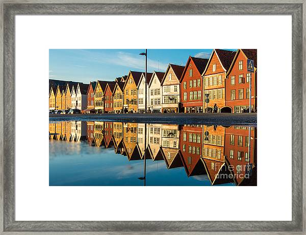 Famous Bryggen Street With Wooden Framed Print