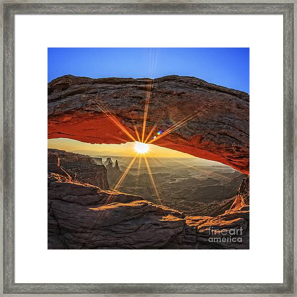 Famous Sunrise At Mesa Arch In Framed Print